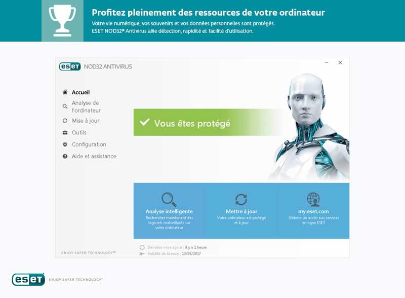 ACCUEIL ESET NOD32 Antivirus Edition 2017